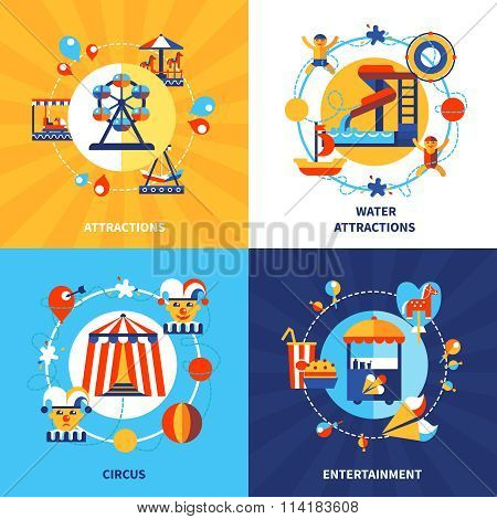 Amusement park fairground attractions and traveling circus show 4 flat icons square composition poster isolated vector illustration poster