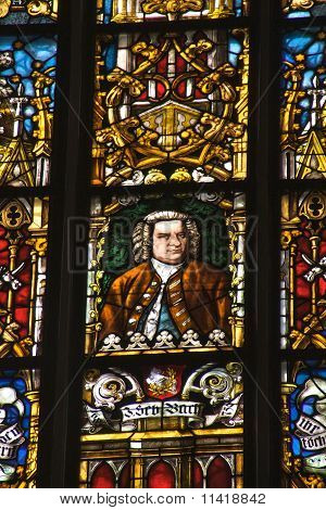 J.S. Bach stained glass