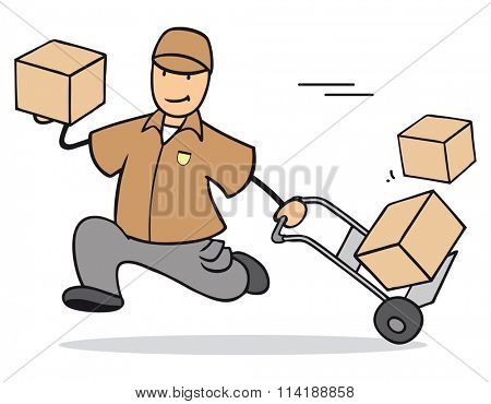 Fast cartoon parcel delivery man with many packages