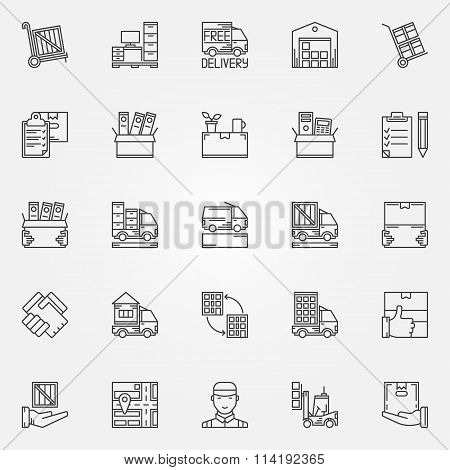 House or office moving icons