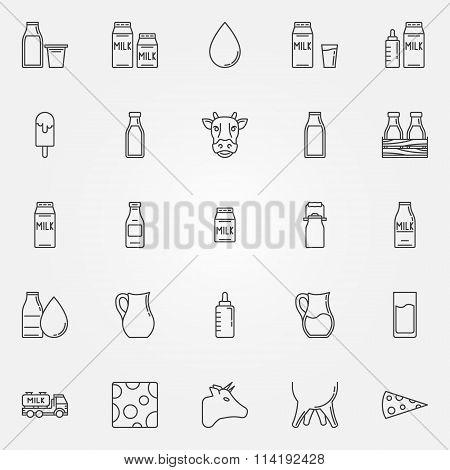 Milk icons set
