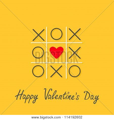 Happy Valentines Day. Love card. Tic tac toe game with cross and red heart sign mark in the center Flat design Yellow background. Vector illustration poster