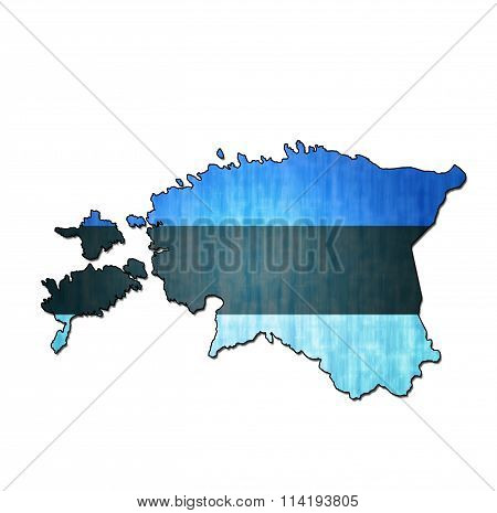 map with flag of estonia with national borders poster