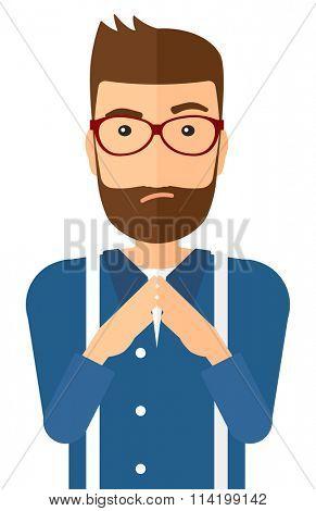 Envious man in glasses.