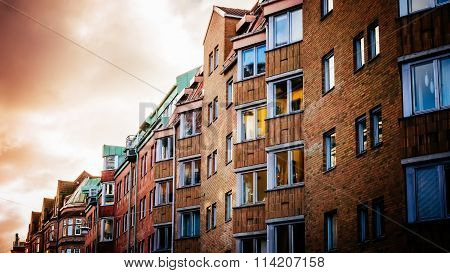 Colorful Vintage Houses And Bulidings At The Historic Part Of Malmo In Sweden