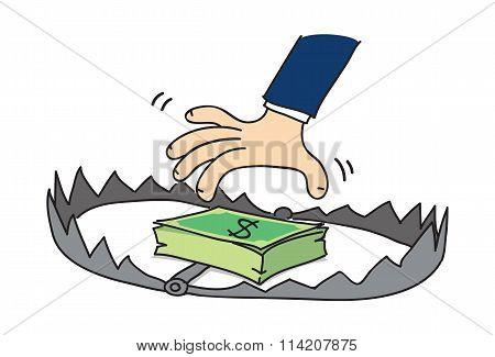 cartoon money trap, vector