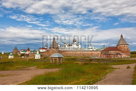 Solovetsky Monastery In The Summer On A Sunny Day, Russia