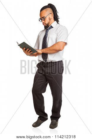 Crazy Student with Book Isolated on White Background