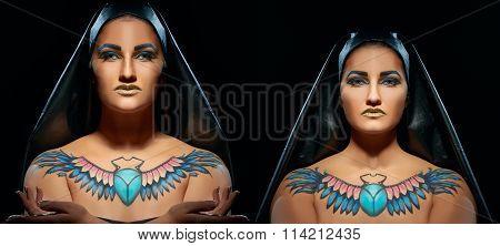 Portrait of beautiful egyptian women and man