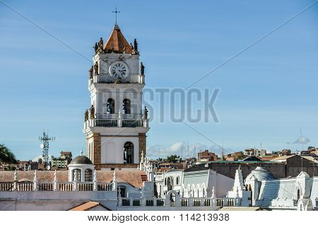Belltower of Felipe Neri monastery in Sucre the official capital of Bolivia poster