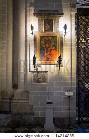 Toledo, Spain - May 19, 2014: Historic Painting In Cathedral Primada Santa Maria De Toledo