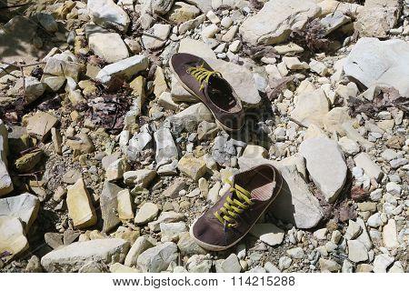 A wet traveler's sneakers on a broken rock near a river