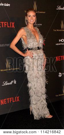 BEVERLY HILLS, CA - JAN. 10: Heidi Klum arrives at the Weinstein Company and Netflix 2016 Golden Globes After Party on Sunday, January 10, 2016 at the Beverly Hilton Hotel in Beverly Hills, CA.
