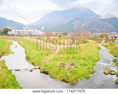 Natural view of Mountain Yufu in Yufuin Kyushu