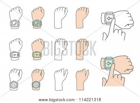 Smart watch gestures. Hands with smart watches. Vector illustrations