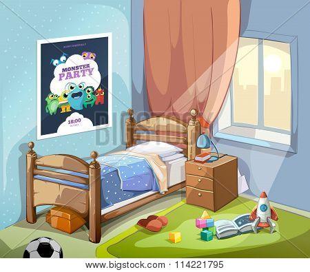 Childrens bedroom interior in cartoon style. Vector illustration