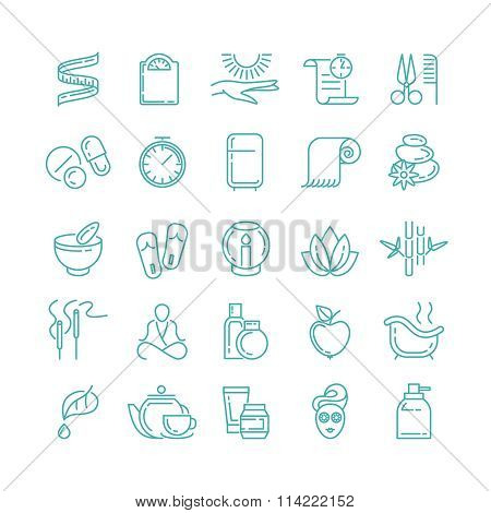 Spa and Beauty line vector icons set