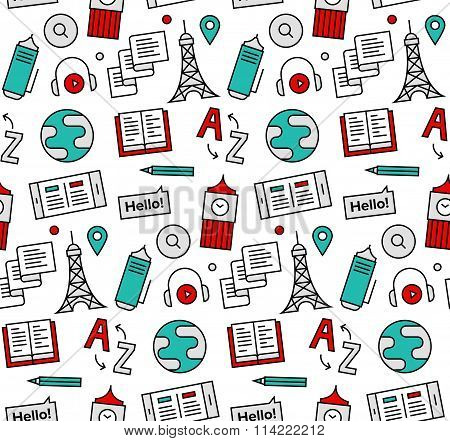 Language School Seamless Icons Pattern