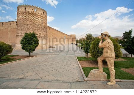 Park With Monument Of Traveler With Photo Camera In Shiraz