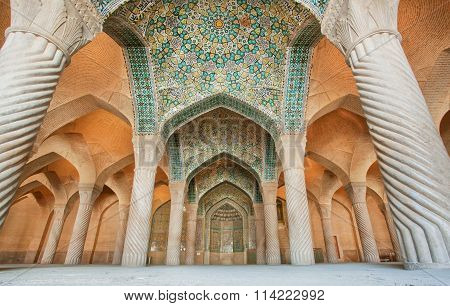 Persian Patterns On The Ceiling Of Mosque With Columns And Artworks, Iran