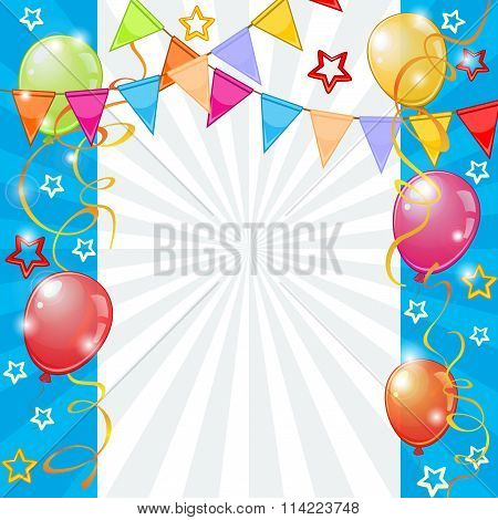 Festive Background With Balloons And Pennants