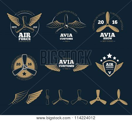 Aircraft design vector elements and logos