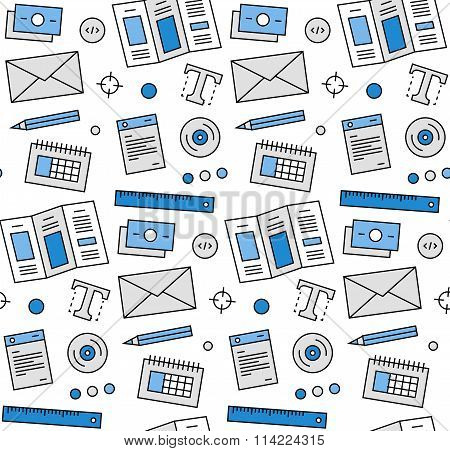 Advertising Elements Seamless Icons Pattern