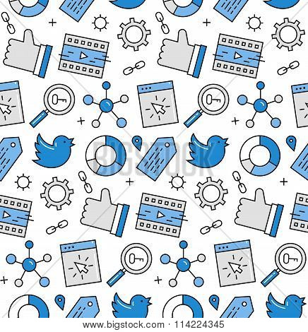 Social Media Seamless Icons Pattern