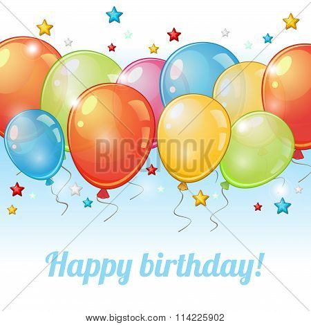 Card With Row Of Balloons