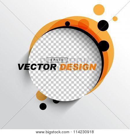 empty space round frame with checkered background, orange black round dot elements background design