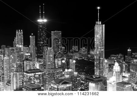 CHICAGO, IL - APRIL 12, 2011: aerial view on Chicago from Willis Tower. Willis Tower know as the famous landmark is 1451 feet high as the world's tallest for 25 years since its completion