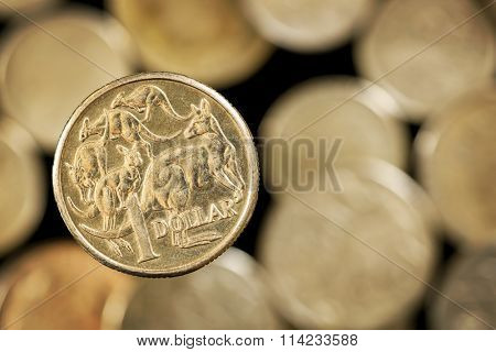 Australian one dollar coin over blurred golden background.