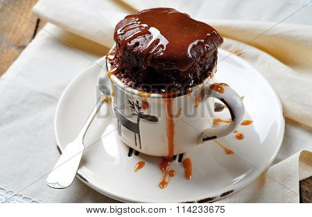 Delicious Mug Cake, Chocolate cake cooked in a cup in the microwave