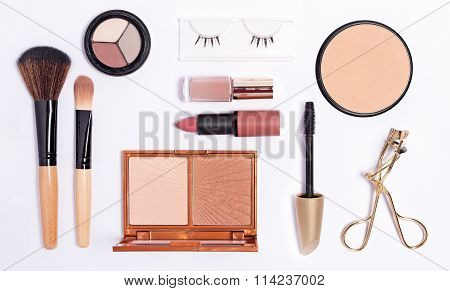 Cosmetics set on white background, top view