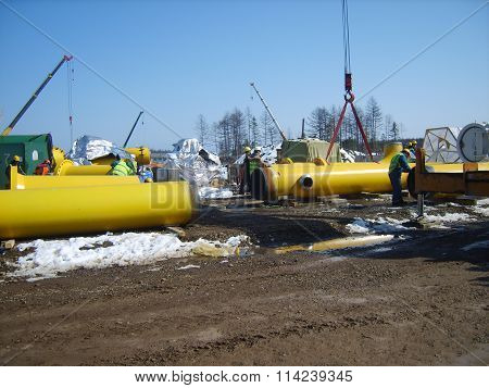 Construction Of  Gas Pipeline On The Ground