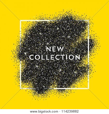 Vector black dust with white vector frame on yellow background. Trendy abstract backdrop ready for your design. New Collection label.