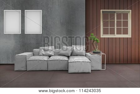 Living room Minimal Style and two picture frame