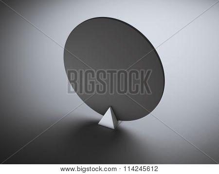 Black circle nameplate in grey studio