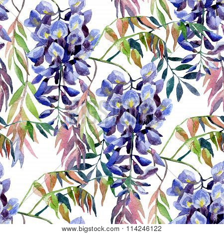 Wisteria Flower. Watercolor Wisteria Seamless Pattern.