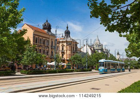 Piac Utca, The Major Street In Debrecen City, Hungary