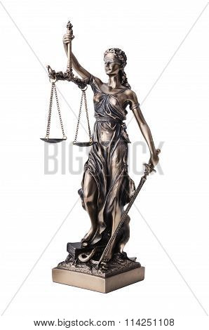 Themis With Scale And Sword Isolated On White