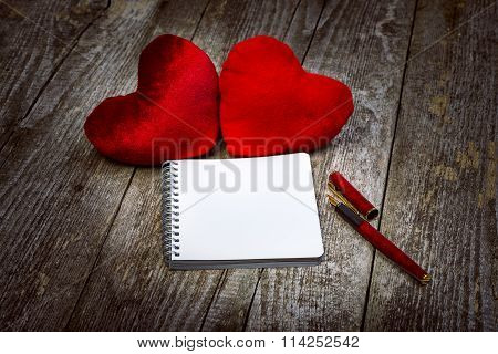 Two Red Velour Hearts And Notepad