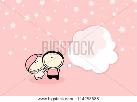 Valentine's day greeting card with cute couple and thought bubble window for your text