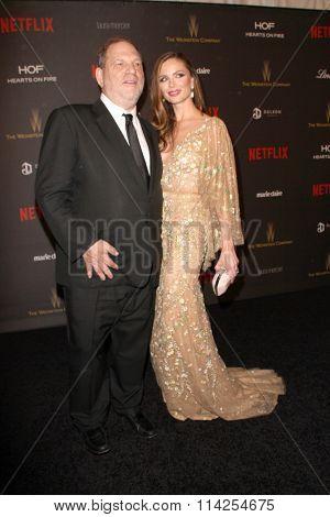 BEVERLY HILLS, CA - JAN. 10: Harvey Weinstein & Georgina Chapman arrive at the Weinstein Company & Netflix 2016 Golden Globes After Party, Jan.10, 2016 at the Beverly Hilton Hotel,Beverly Hills, CA.