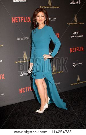 BEVERLY HILLS, CA - JAN. 10: Julie Chen arrives at the Weinstein Company and Netflix 2016 Golden Globes After Party on Sunday, January 10, 2016 at the Beverly Hilton Hotel in Beverly Hills, CA.