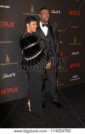 BEVERLY HILLS, CA - JAN. 10: Cynne Simpson & Chris Tucker arrive at the Weinstein Company & Netflix 2016 Golden Globes After Party on January 10, 2016 at the Beverly Hilton Hotel, Beverly Hills, CA.
