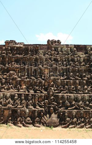 Terrace of the Leper king in Angkor Thom Siem Reap Cambodia