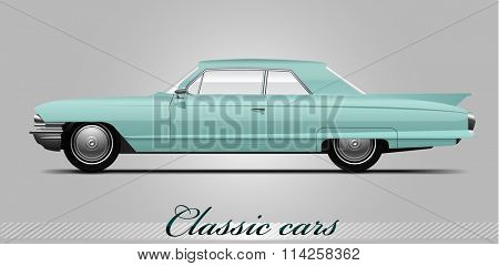 NOVI SAD, SERBIA - JANUARY 06, 2016: Vector illustration of Cadillac DeVille 1960, eps10, vector, illustrative editorial - stock vector