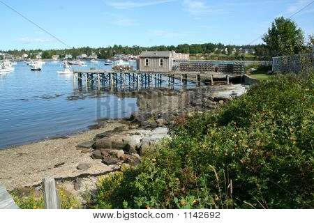 Harbor With Dock And Lobster Traps