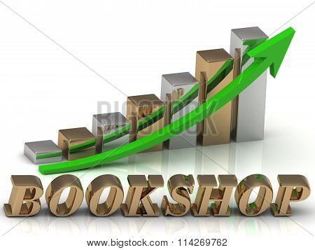 Bookshop- Inscription Of Gold Letters And Graphic Growth